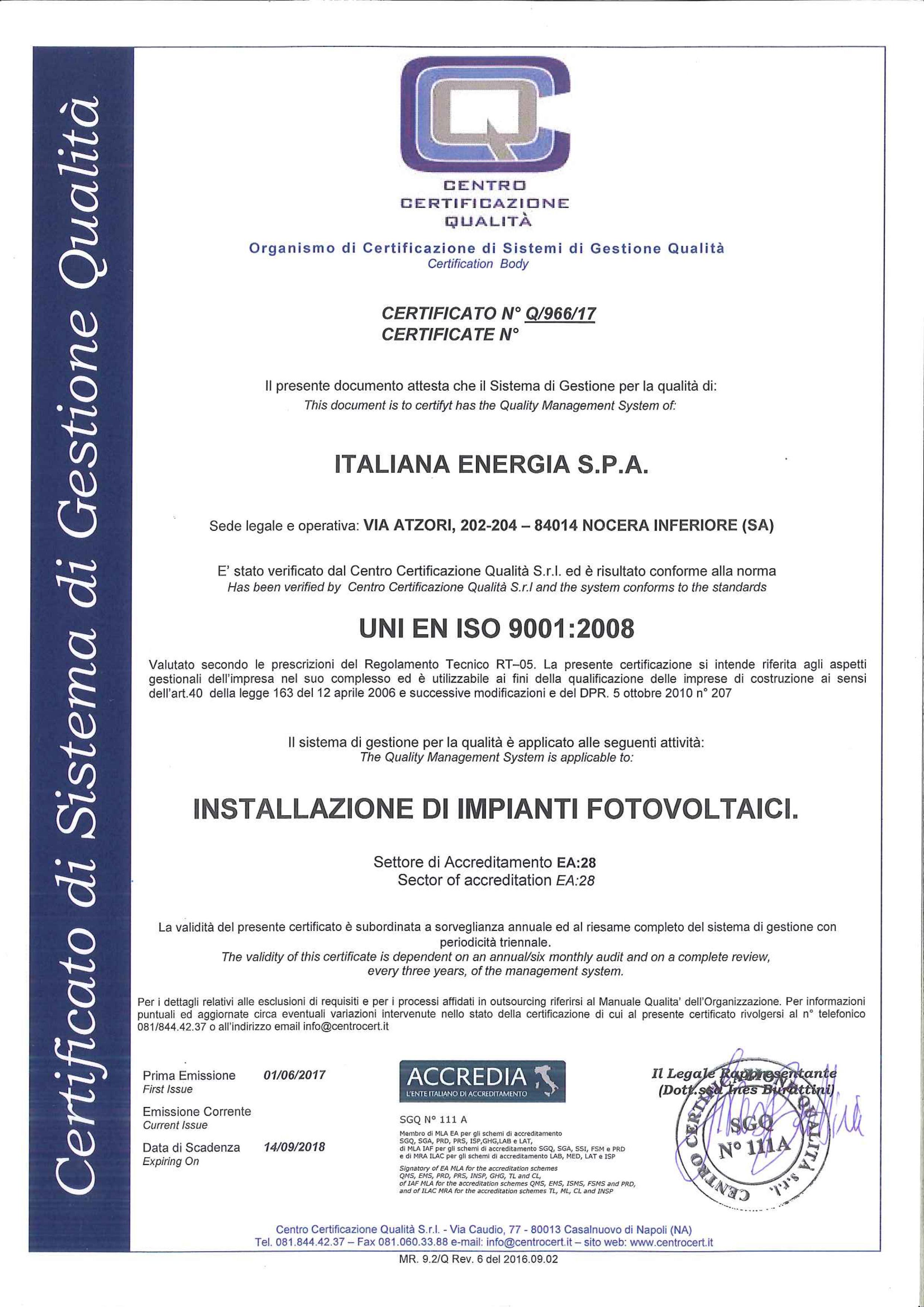 Certificato n. Q_966_17 ITALIANA ENERGIA S.P.A.