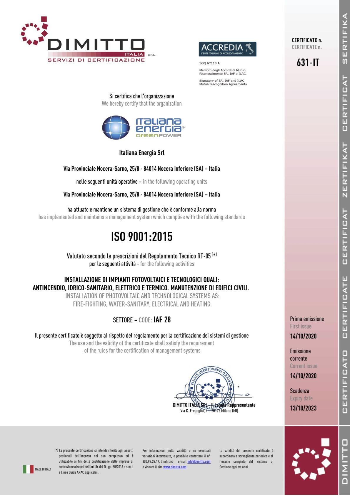 IT Certificato_631-IT – Italiana Energia – 9001 – 28